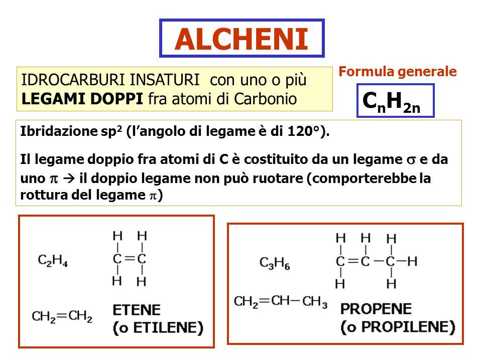 ALCHENI Formula generale. IDROCARBURI INSATURI con uno o più LEGAMI DOPPI fra atomi di Carbonio. CnH2n.