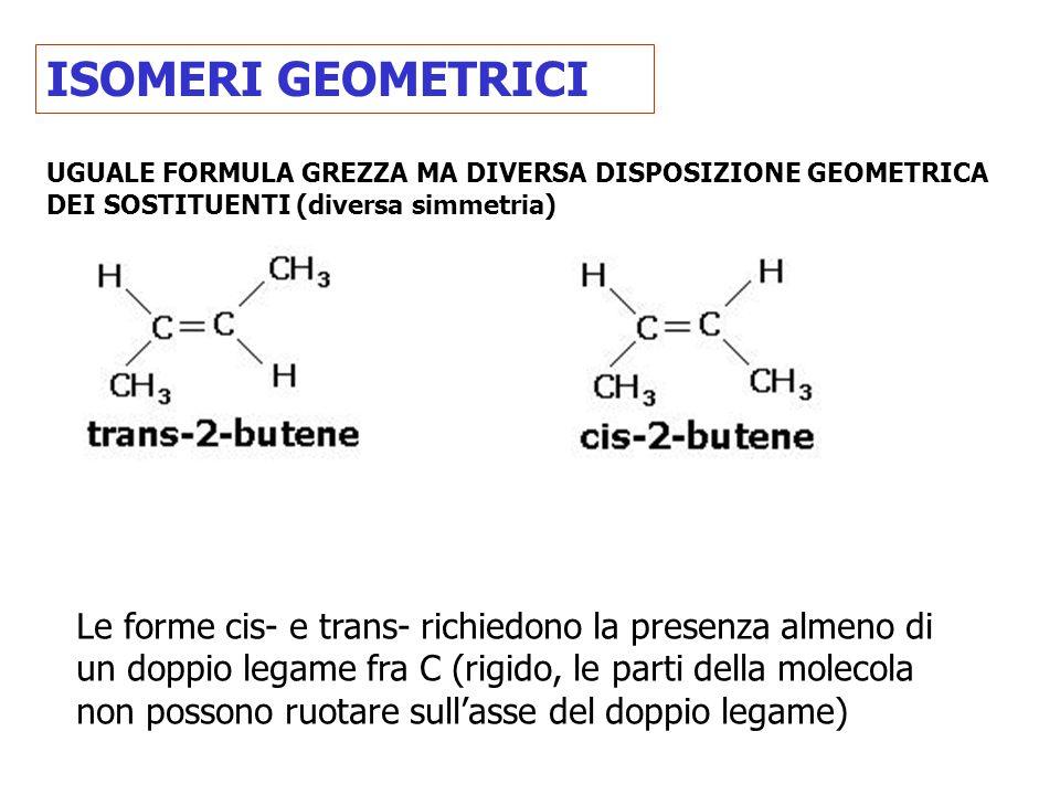 ISOMERI GEOMETRICI UGUALE FORMULA GREZZA MA DIVERSA DISPOSIZIONE GEOMETRICA DEI SOSTITUENTI (diversa simmetria)