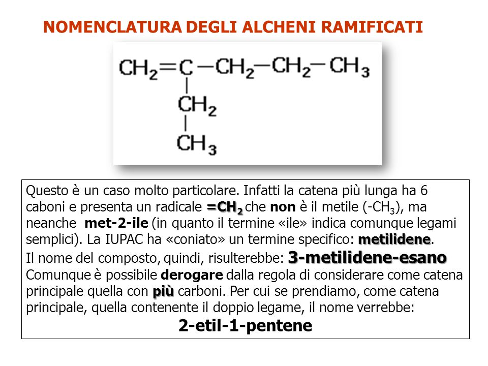 NOMENCLATURA DEGLI ALCHENI RAMIFICATI