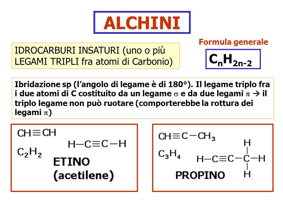 ALCHINI Formula generale. IDROCARBURI INSATURI (uno o più LEGAMI TRIPLI fra atomi di Carbonio) CnH2n-2.