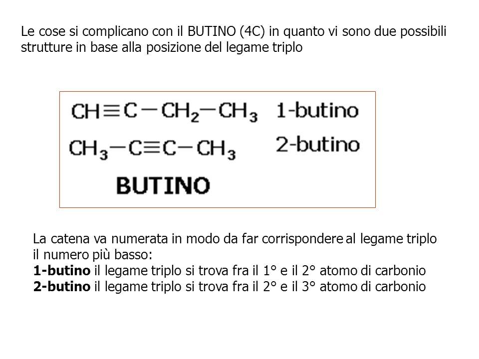 Le cose si complicano con il BUTINO (4C) in quanto vi sono due possibili strutture in base alla posizione del legame triplo