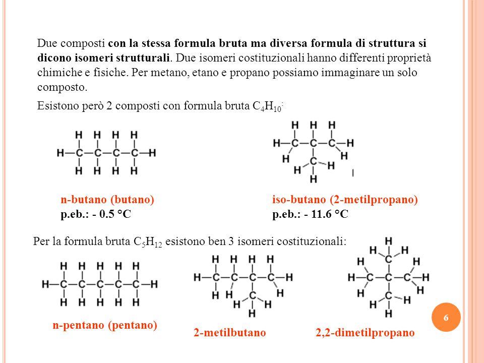 Due composti con la stessa formula bruta ma diversa formula di struttura si dicono isomeri strutturali. Due isomeri costituzionali hanno differenti proprietà chimiche e fisiche. Per metano, etano e propano possiamo immaginare un solo composto.