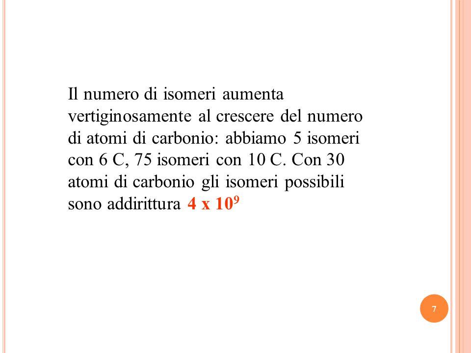 Il numero di isomeri aumenta vertiginosamente al crescere del numero di atomi di carbonio: abbiamo 5 isomeri con 6 C, 75 isomeri con 10 C.