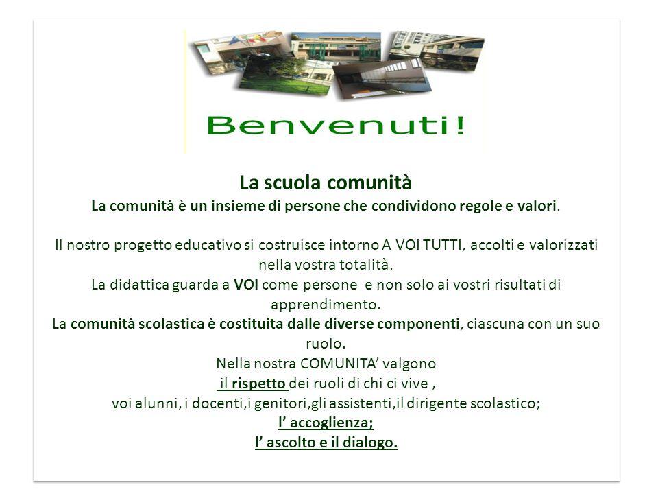 La nostra idea di scuola La scuola comunità La comunità è un insieme di persone che condividono regole e valori.