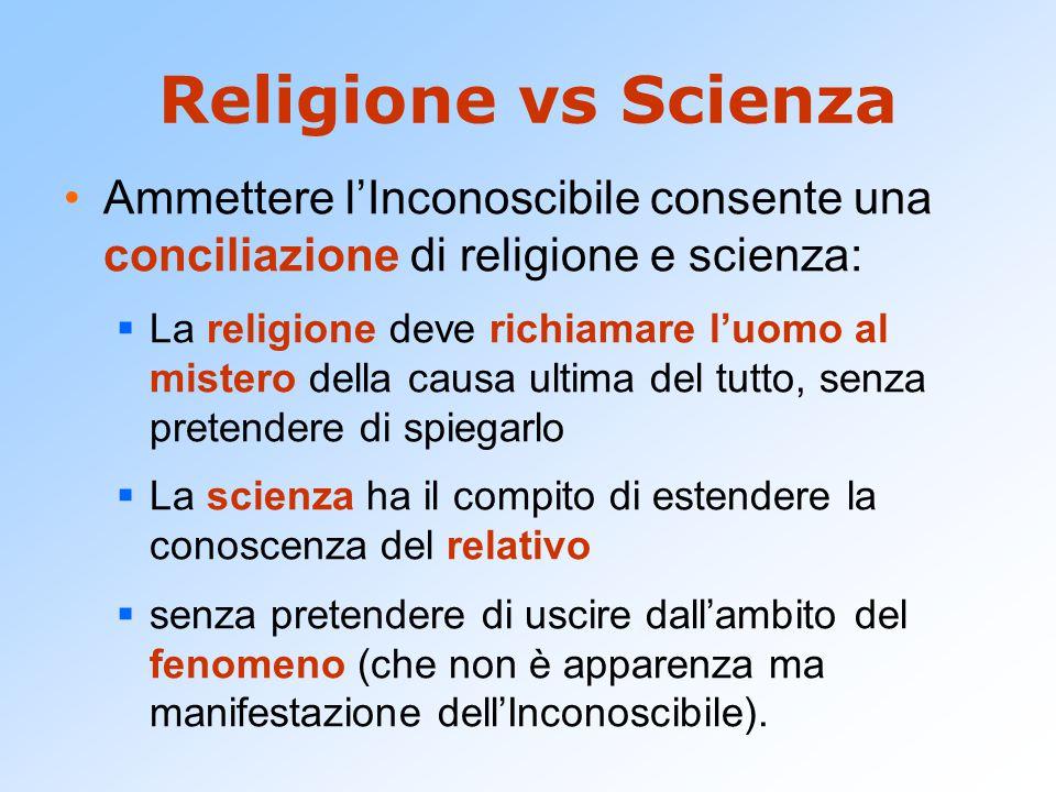 Religione vs Scienza Ammettere l'Inconoscibile consente una conciliazione di religione e scienza: