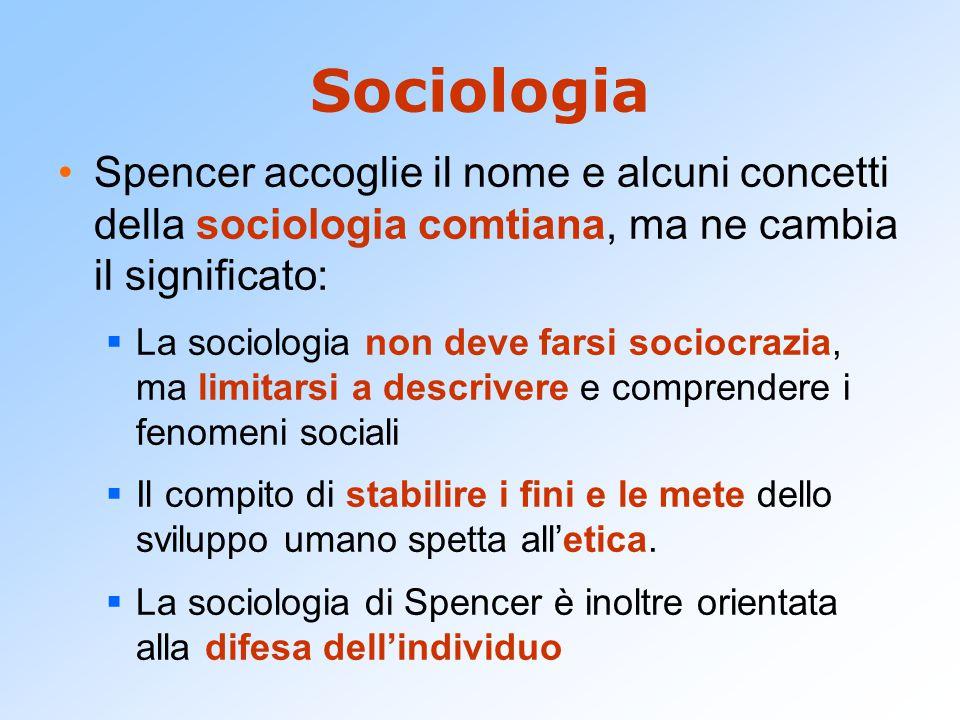 Sociologia Spencer accoglie il nome e alcuni concetti della sociologia comtiana, ma ne cambia il significato: