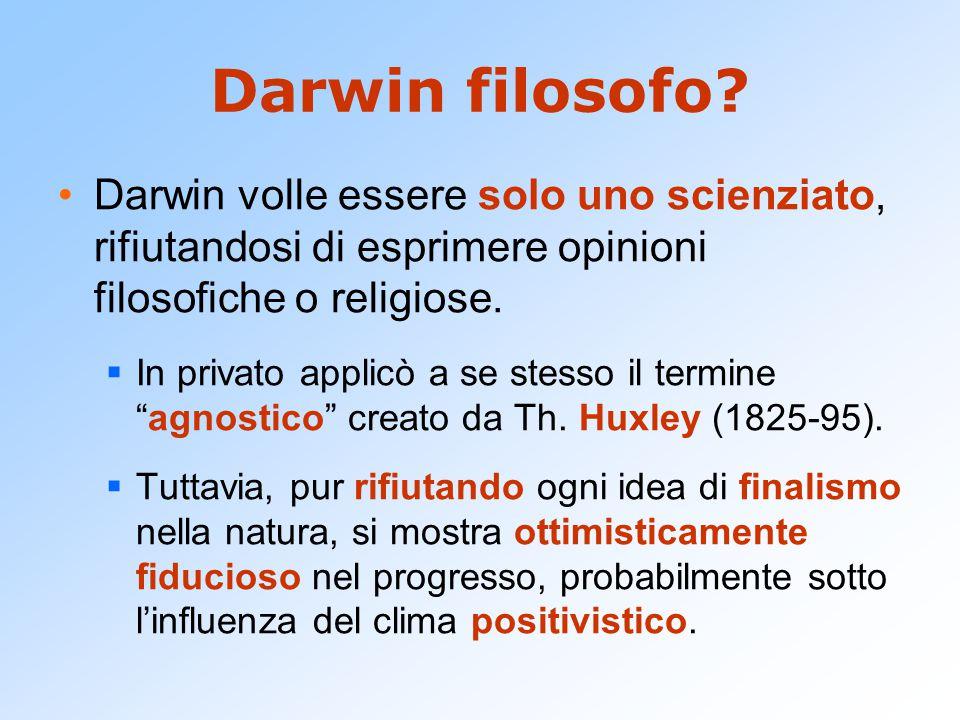 Darwin filosofo Darwin volle essere solo uno scienziato, rifiutandosi di esprimere opinioni filosofiche o religiose.