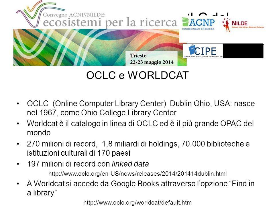 Il progetto Worldcat/OCLC del consorzio CIPE