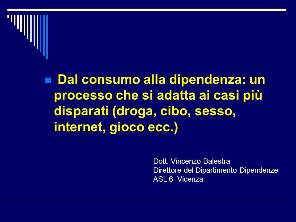 Dal consumo alla dipendenza: un processo che si adatta ai casi più disparati (droga, cibo, sesso, internet, gioco ecc.)