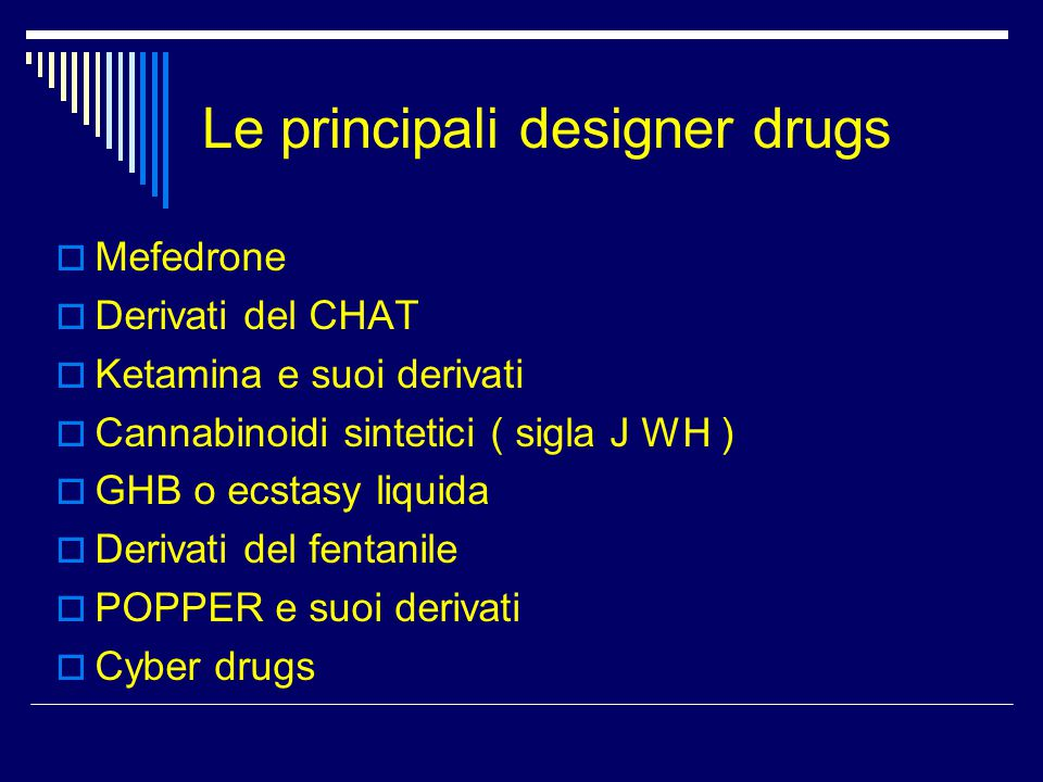 Le principali designer drugs