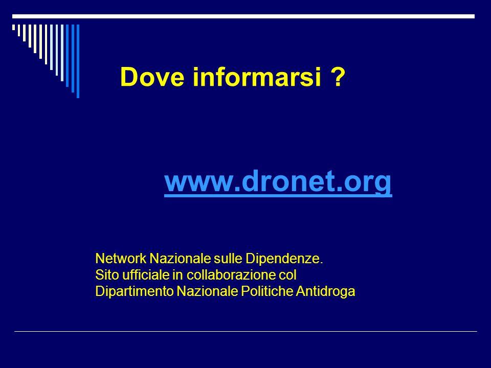 www.dronet.org Dove informarsi Network Nazionale sulle Dipendenze.