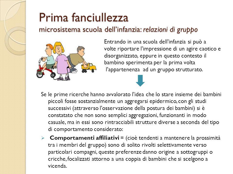 Prima fanciullezza microsistema scuola dell'infanzia: relazioni di gruppo