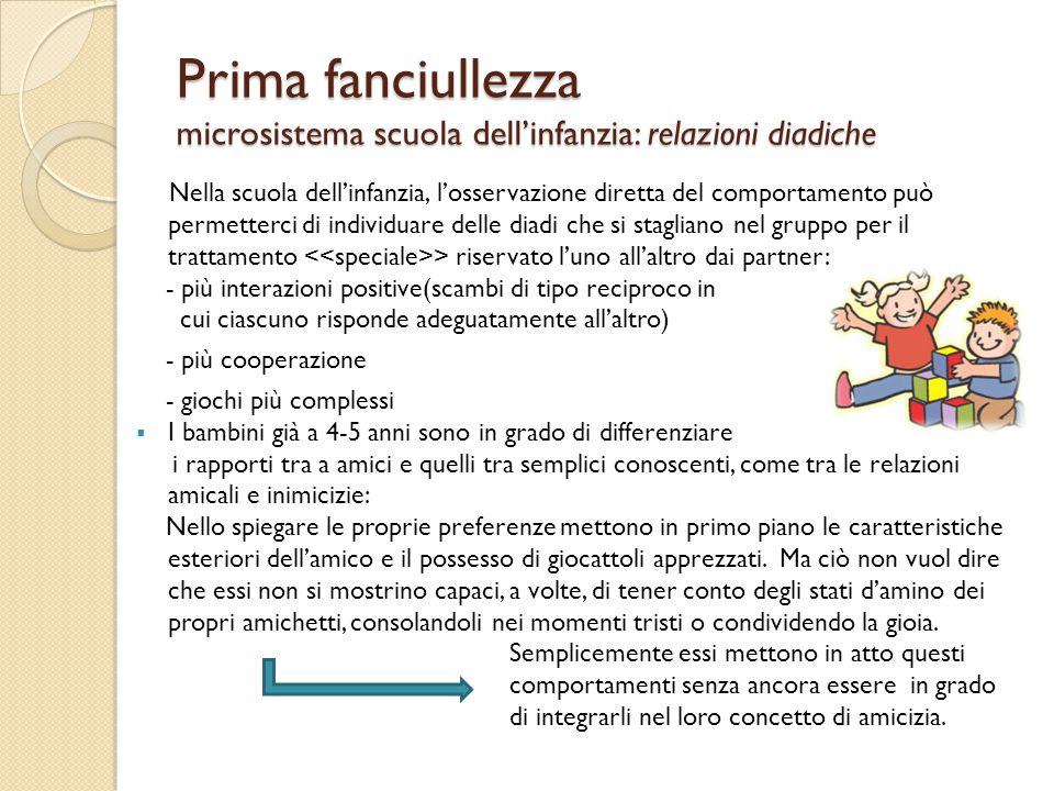 Prima fanciullezza microsistema scuola dell'infanzia: relazioni diadiche