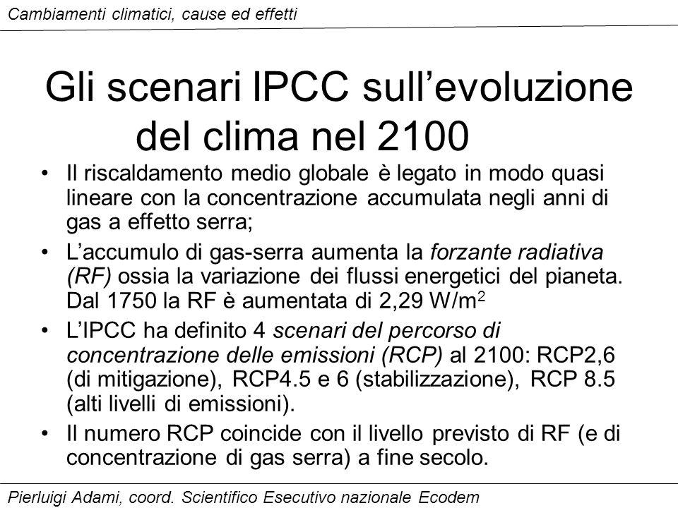 Gli scenari IPCC sull'evoluzione del clima nel 2100
