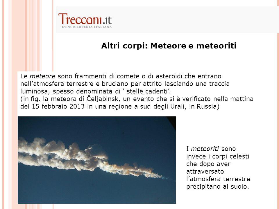 Altri corpi: Meteore e meteoriti
