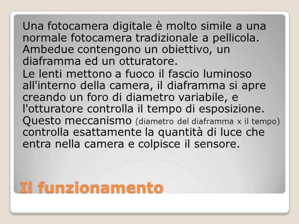 Una fotocamera digitale è molto simile a una normale fotocamera tradizionale a pellicola. Ambedue contengono un obiettivo, un diaframma ed un otturatore.