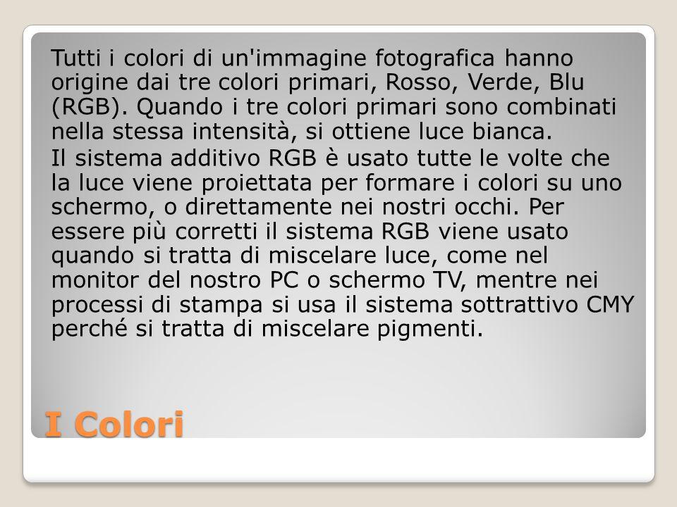 Tutti i colori di un immagine fotografica hanno origine dai tre colori primari, Rosso, Verde, Blu (RGB). Quando i tre colori primari sono combinati nella stessa intensità, si ottiene luce bianca. Il sistema additivo RGB è usato tutte le volte che la luce viene proiettata per formare i colori su uno schermo, o direttamente nei nostri occhi. Per essere più corretti il sistema RGB viene usato quando si tratta di miscelare luce, come nel monitor del nostro PC o schermo TV, mentre nei processi di stampa si usa il sistema sottrattivo CMY perché si tratta di miscelare pigmenti.