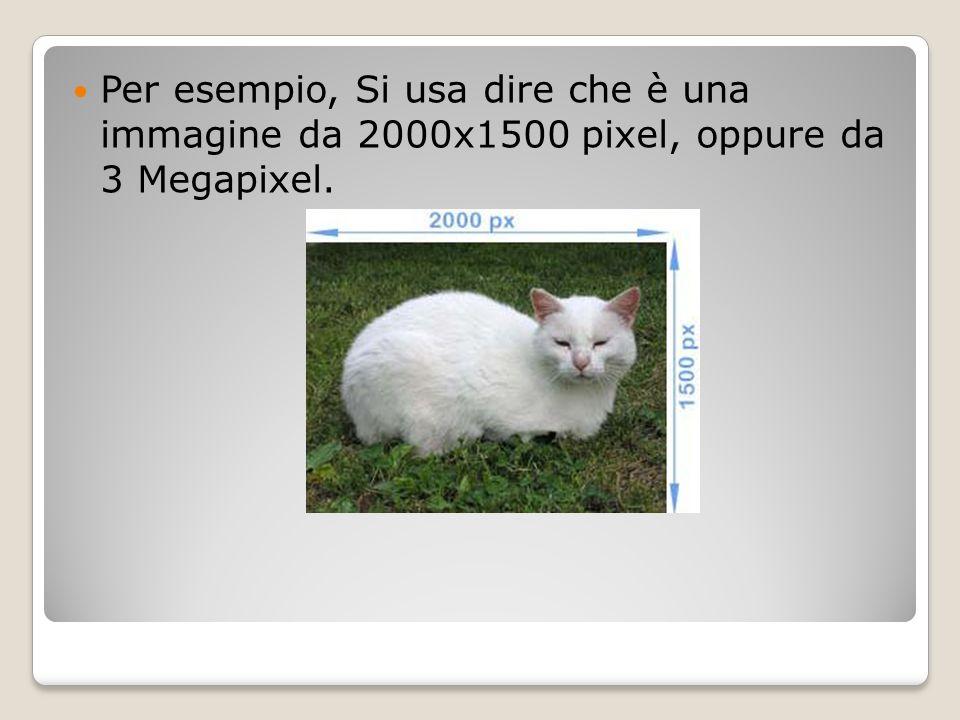 Per esempio, Si usa dire che è una immagine da 2000x1500 pixel, oppure da 3 Megapixel.