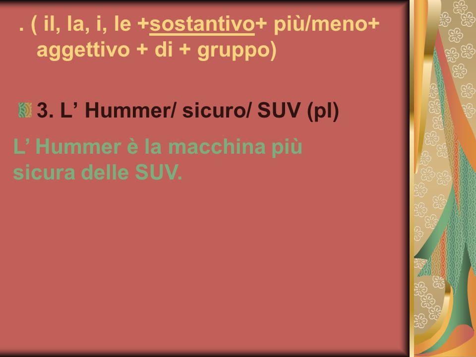 . ( il, la, i, le +sostantivo+ più/meno+ aggettivo + di + gruppo)