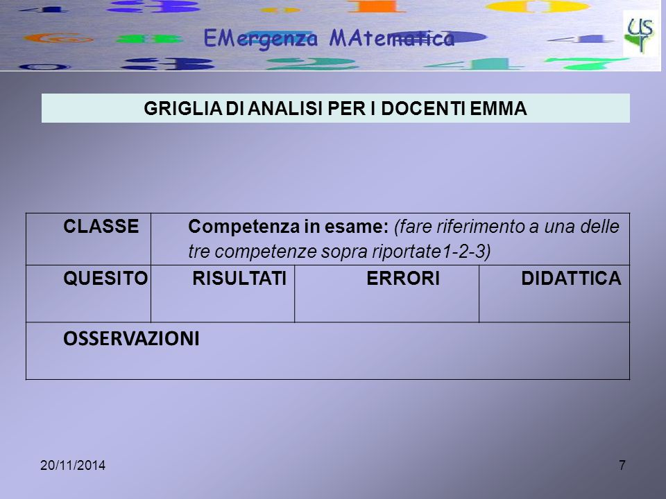 GRIGLIA DI ANALISI PER I DOCENTI EMMA