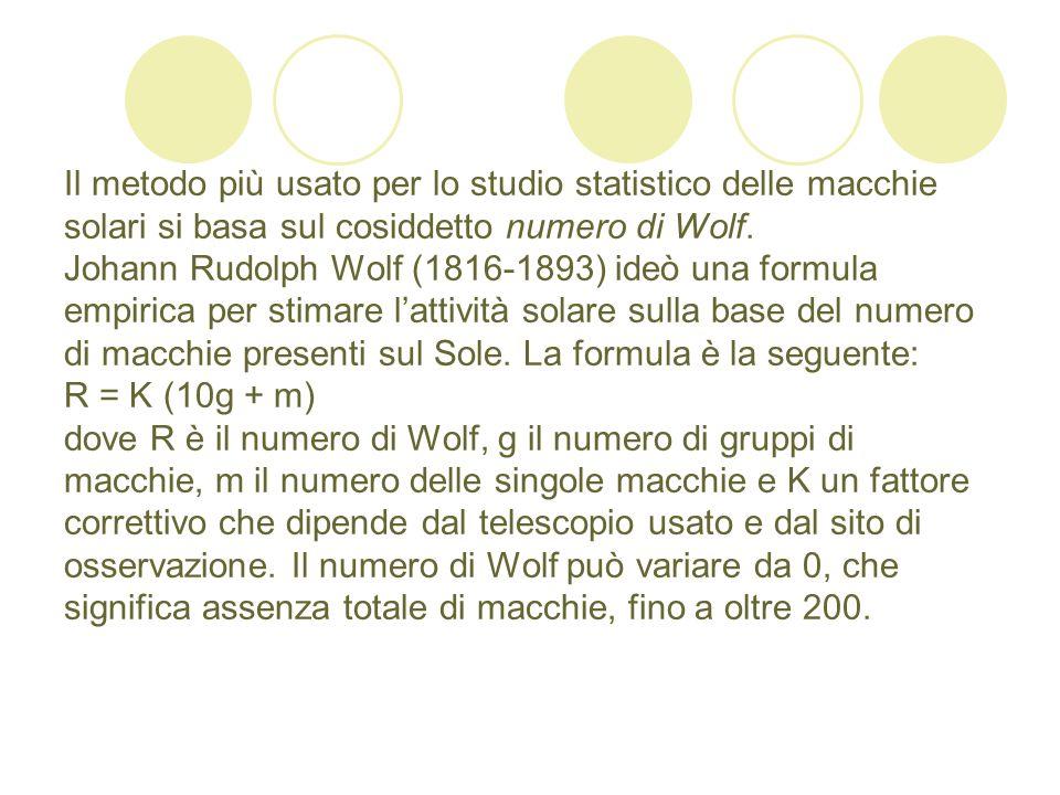 Il metodo più usato per lo studio statistico delle macchie solari si basa sul cosiddetto numero di Wolf.