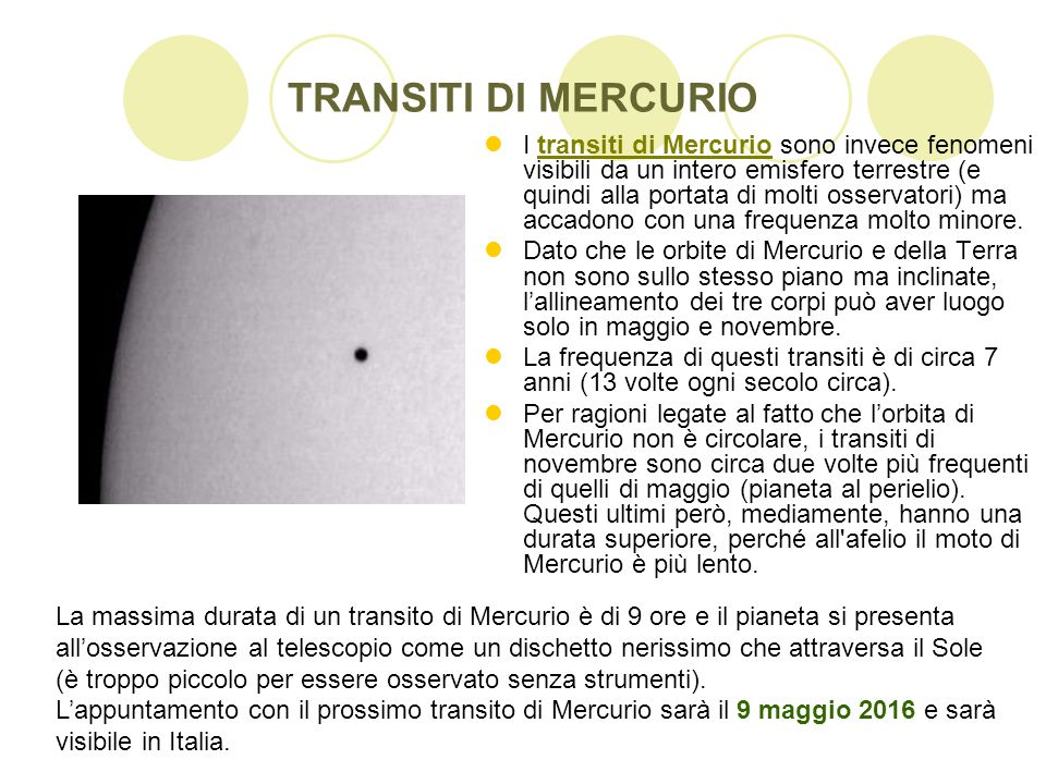 TRANSITI DI MERCURIO