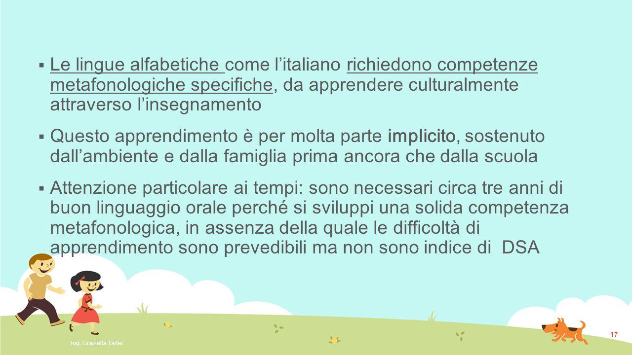 Le lingue alfabetiche come l'italiano richiedono competenze metafonologiche specifiche, da apprendere culturalmente attraverso l'insegnamento