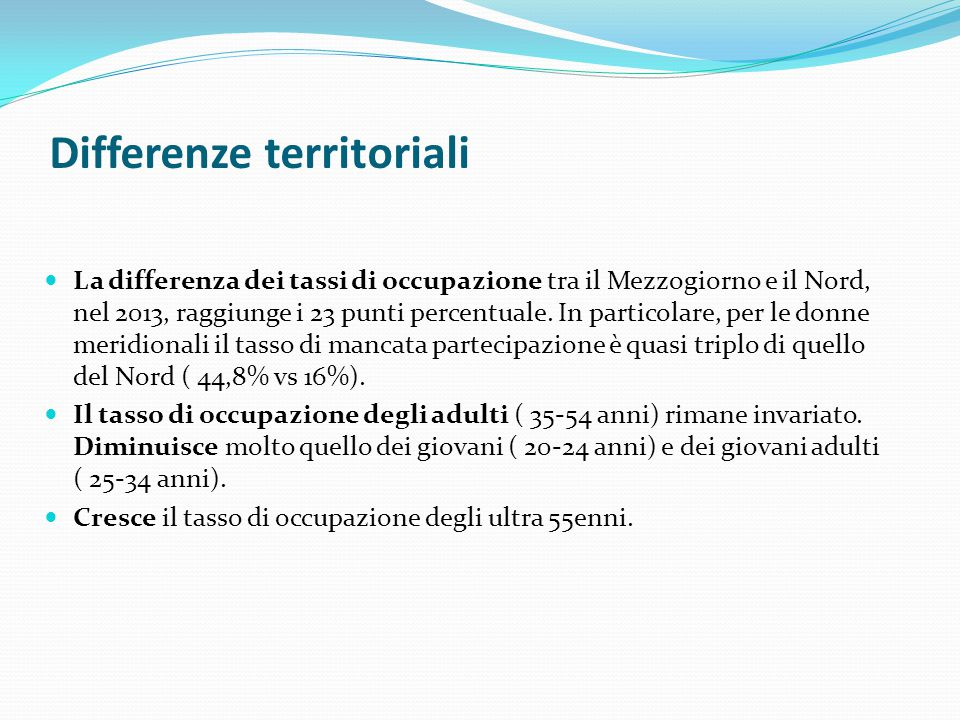 Differenze territoriali
