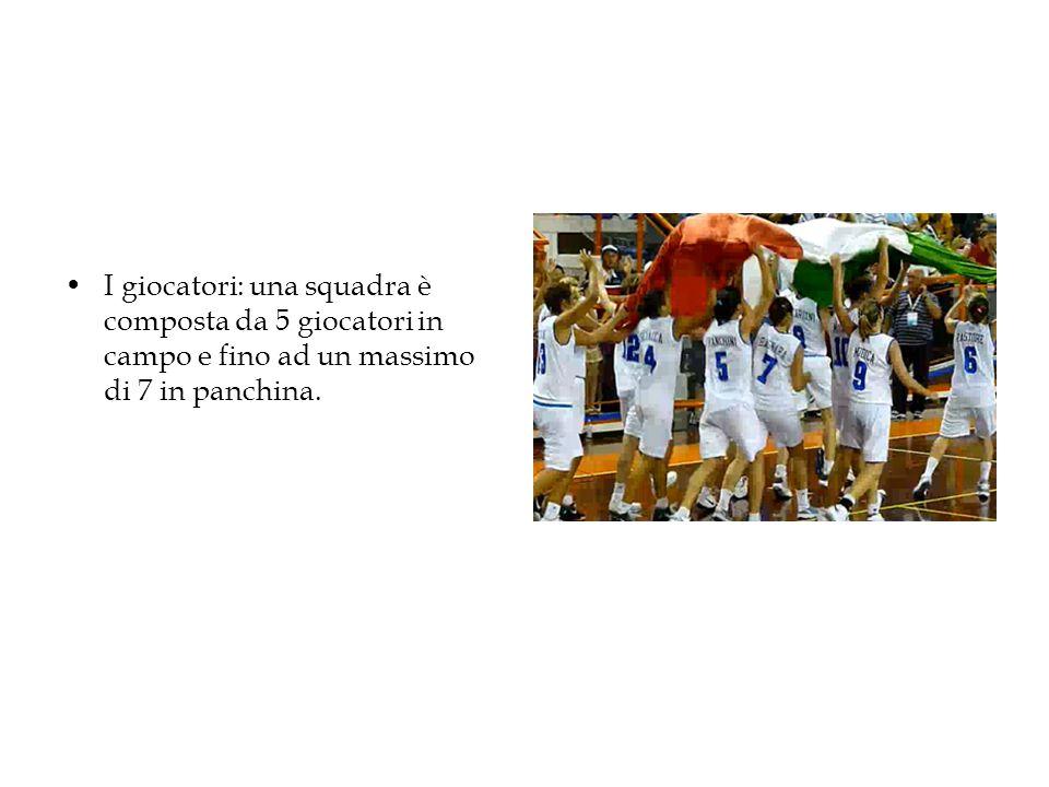 I giocatori: una squadra è composta da 5 giocatori in campo e fino ad un massimo di 7 in panchina.