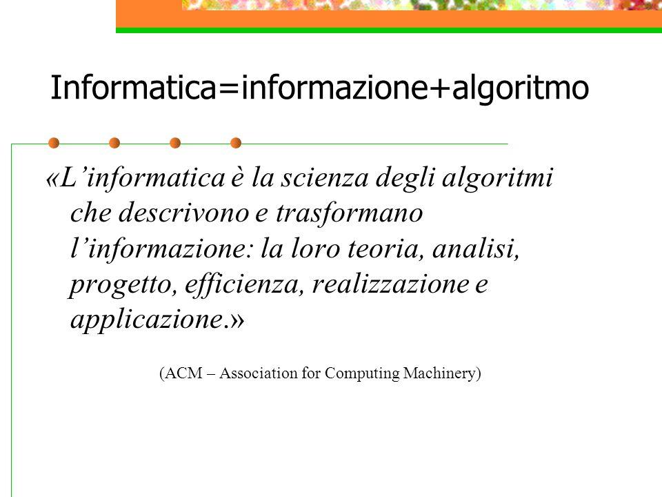 Informatica=informazione+algoritmo