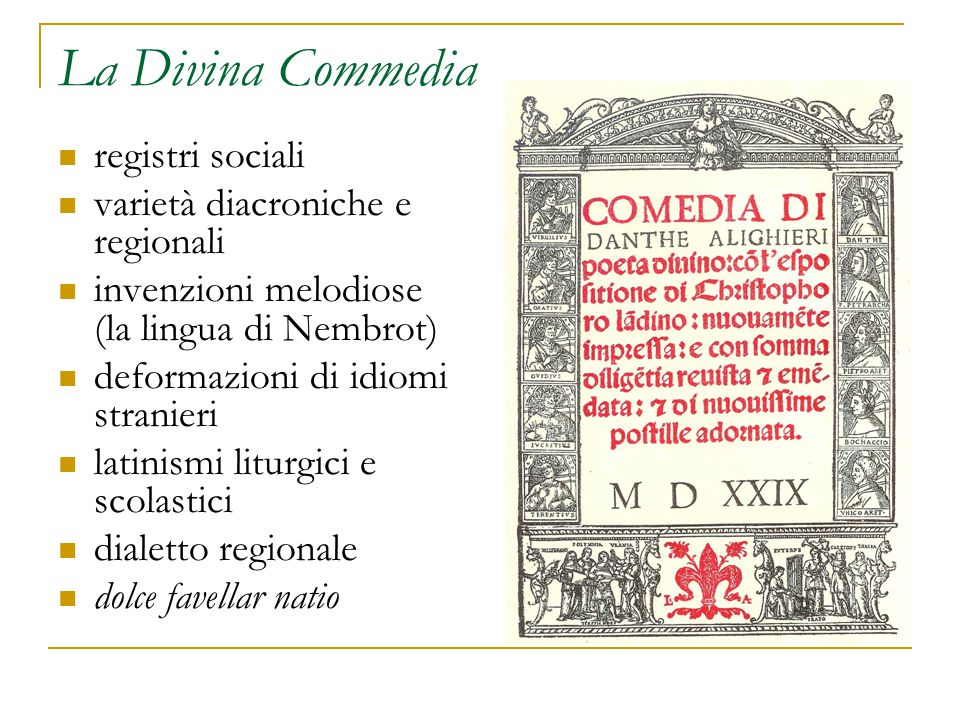 La Divina Commedia registri sociali varietà diacroniche e regionali