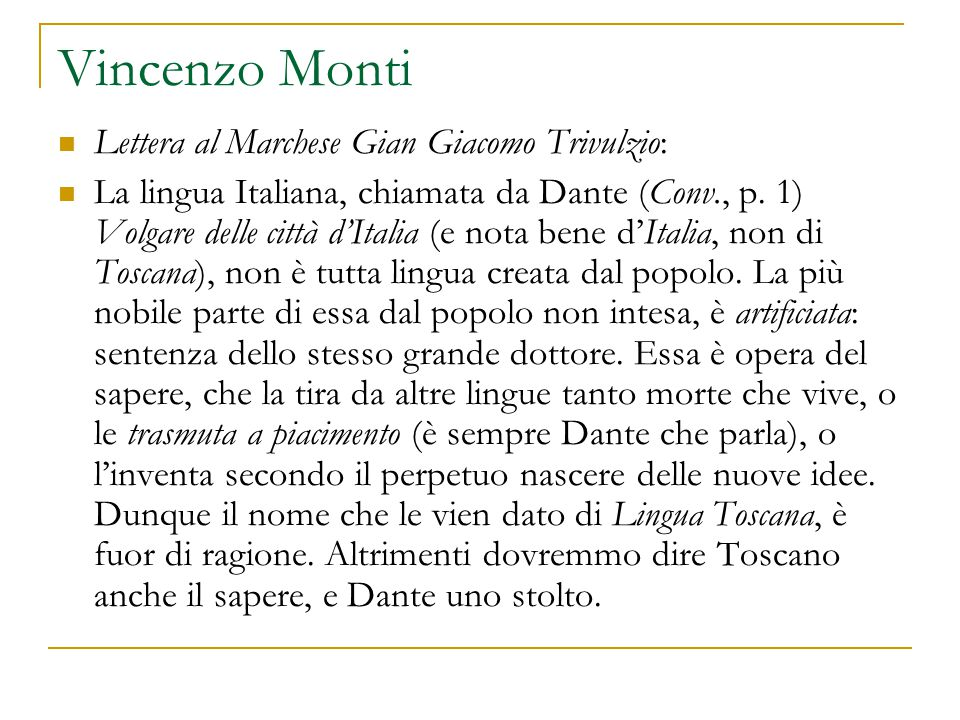 Vincenzo Monti Lettera al Marchese Gian Giacomo Trivulzio: