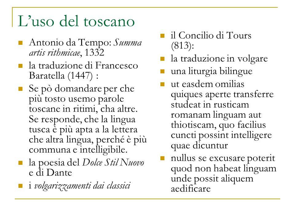L'uso del toscano il Concilio di Tours (813): la traduzione in volgare