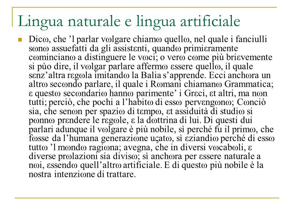 Lingua naturale e lingua artificiale