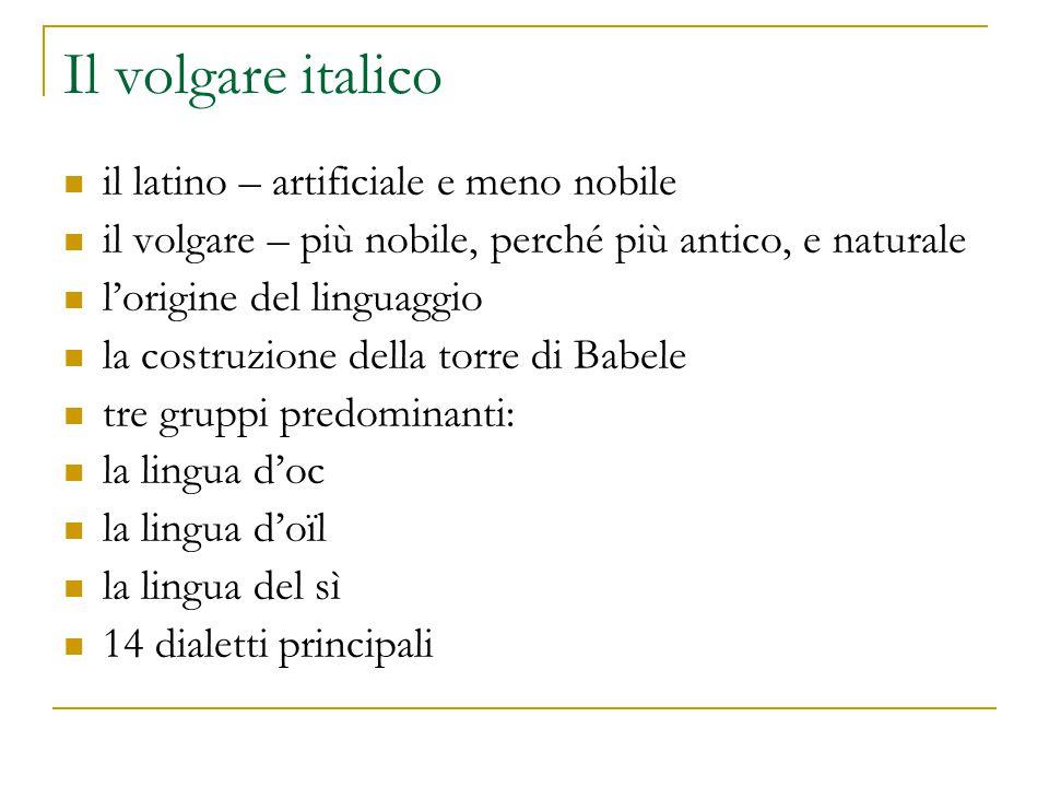 Il volgare italico il latino – artificiale e meno nobile