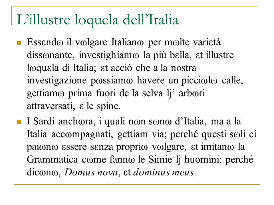 L'illustre loquela dell'Italia