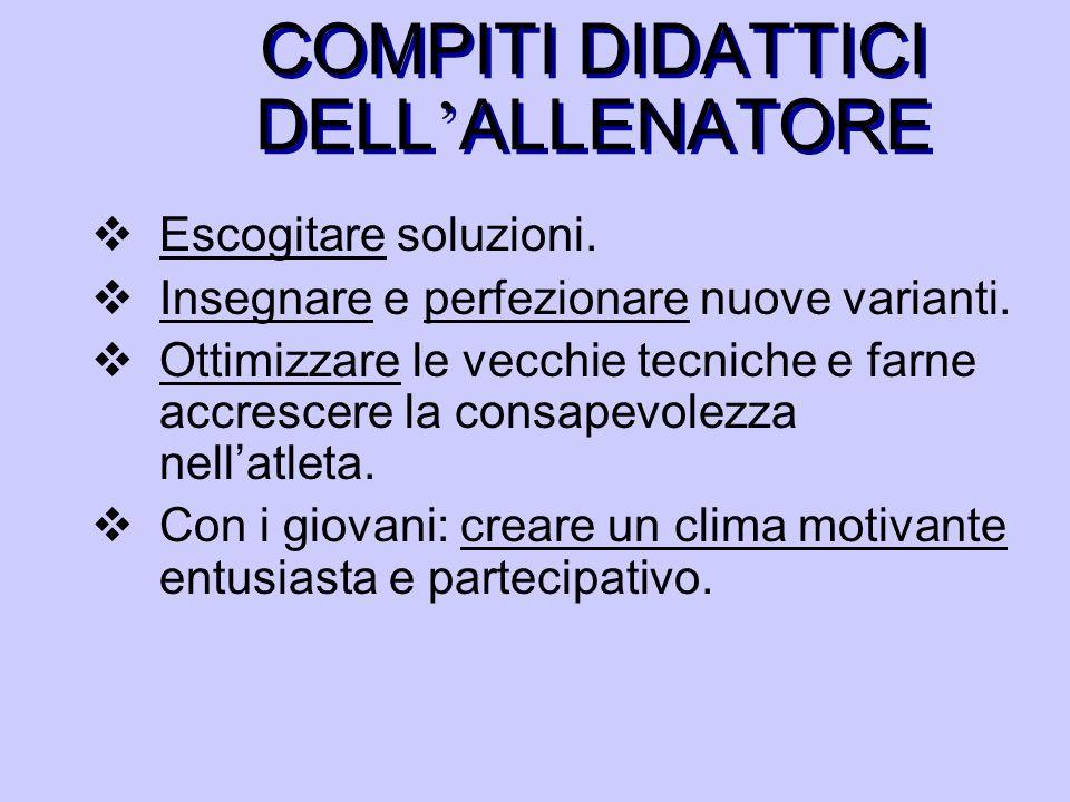 COMPITI DIDATTICI DELL'ALLENATORE