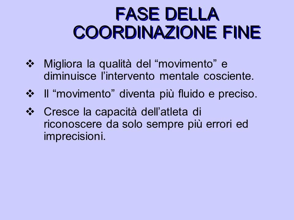 FASE DELLA COORDINAZIONE FINE