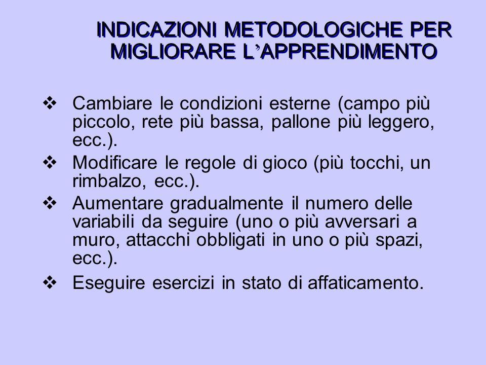 INDICAZIONI METODOLOGICHE PER MIGLIORARE L'APPRENDIMENTO