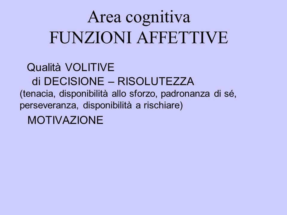 Area cognitiva FUNZIONI AFFETTIVE