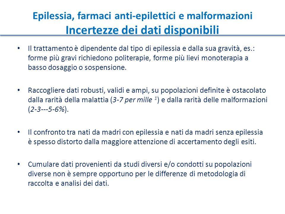 Epilessia, farmaci anti-epilettici e malformazioni Incertezze dei dati disponibili