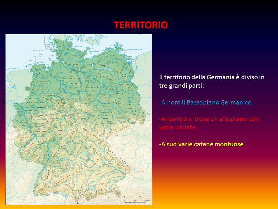 TERRITORIO Il territorio della Germania è diviso in tre grandi parti: