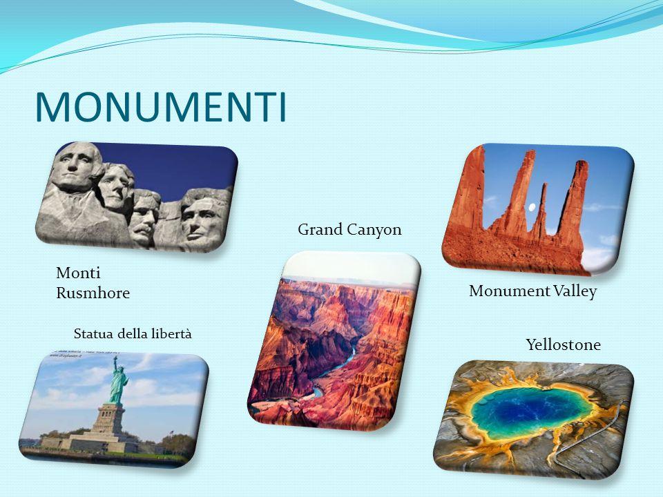 MONUMENTI Grand Canyon Monti Rusmhore Monument Valley Yellostone