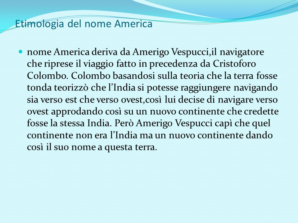 Etimologia del nome America