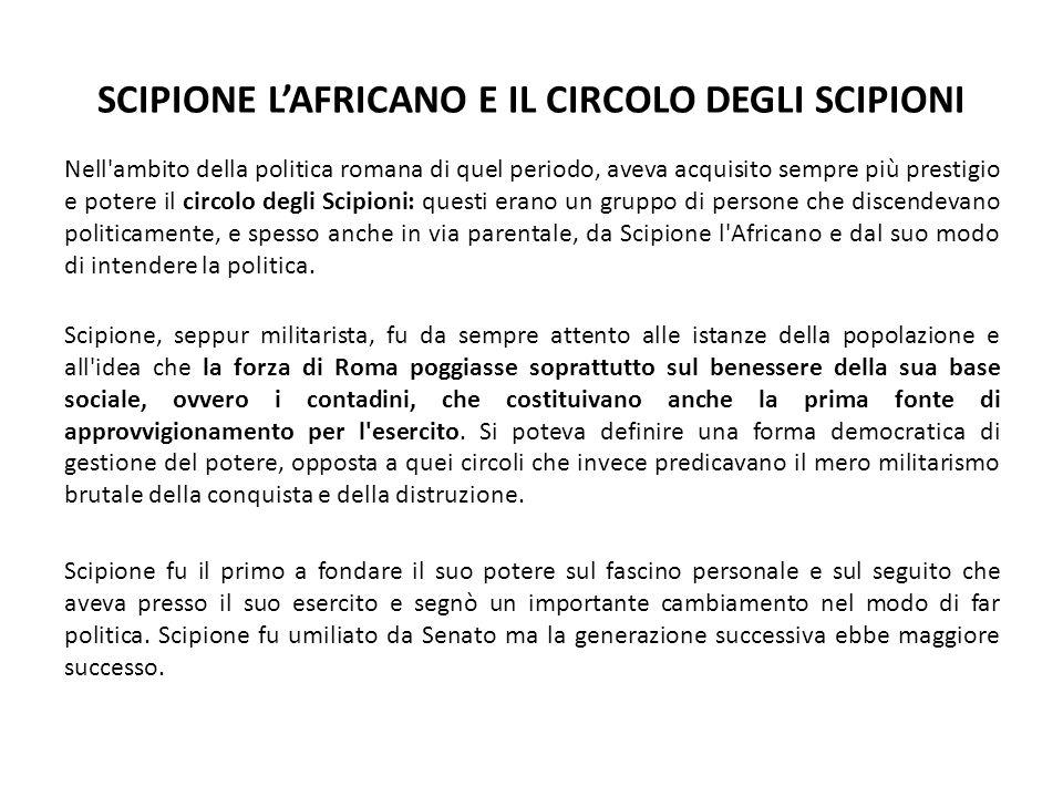 SCIPIONE L'AFRICANO E IL CIRCOLO DEGLI SCIPIONI