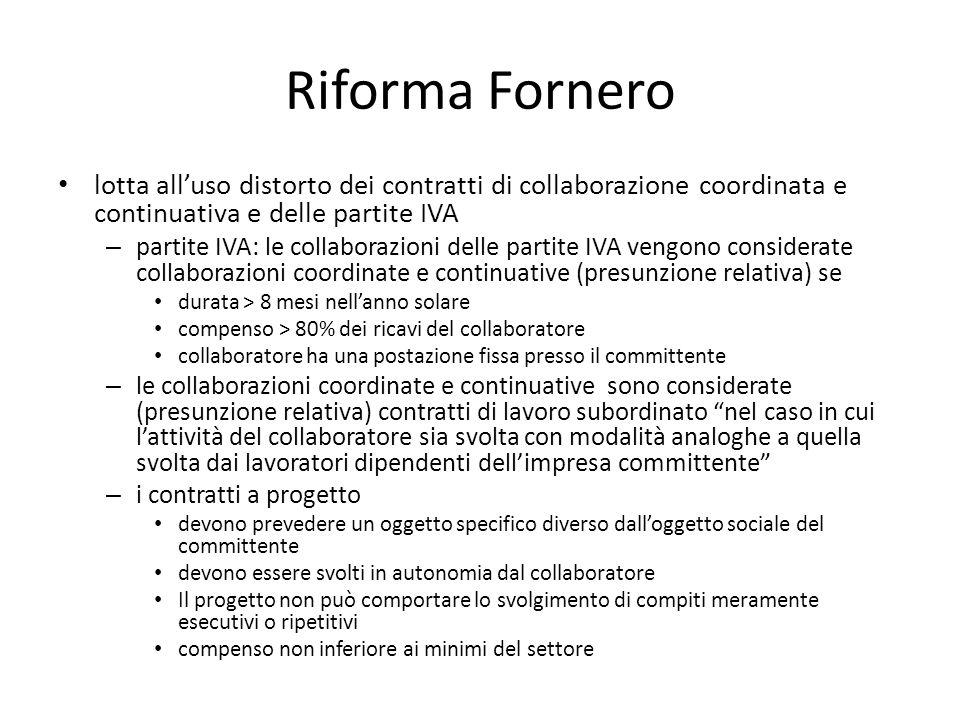 Riforma Fornero lotta all'uso distorto dei contratti di collaborazione coordinata e continuativa e delle partite IVA.