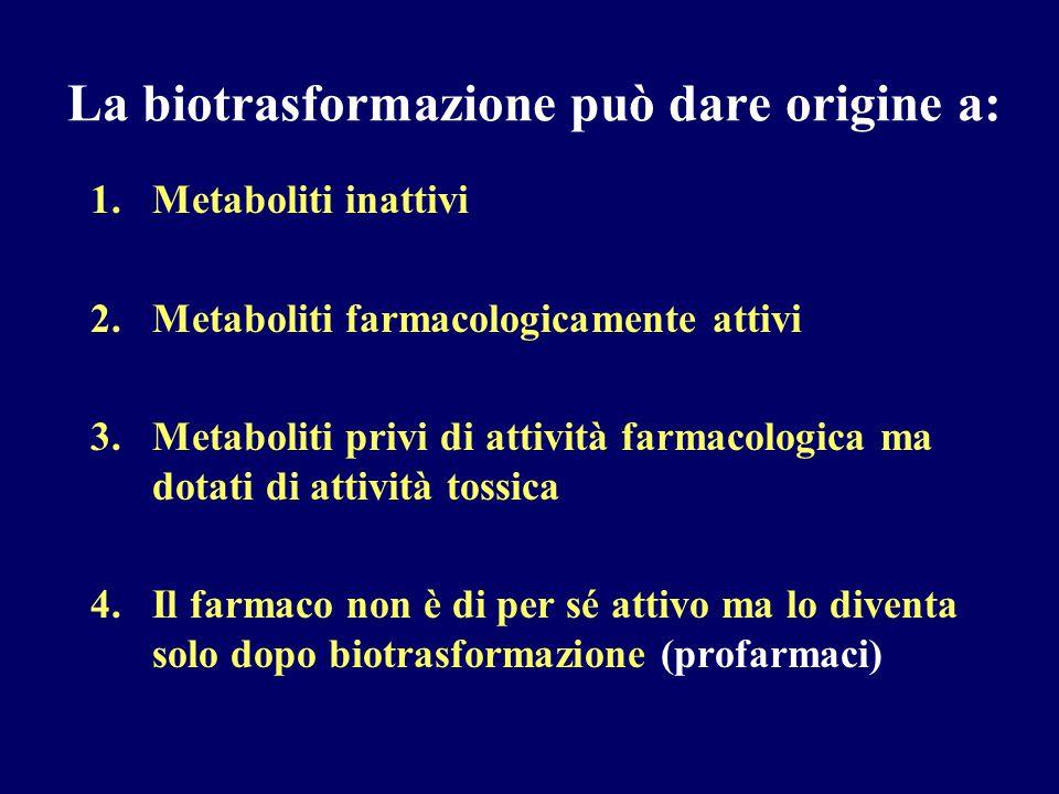La biotrasformazione può dare origine a: