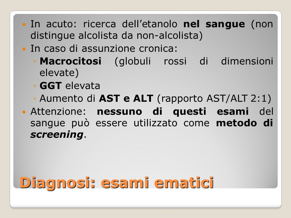 Diagnosi: esami ematici