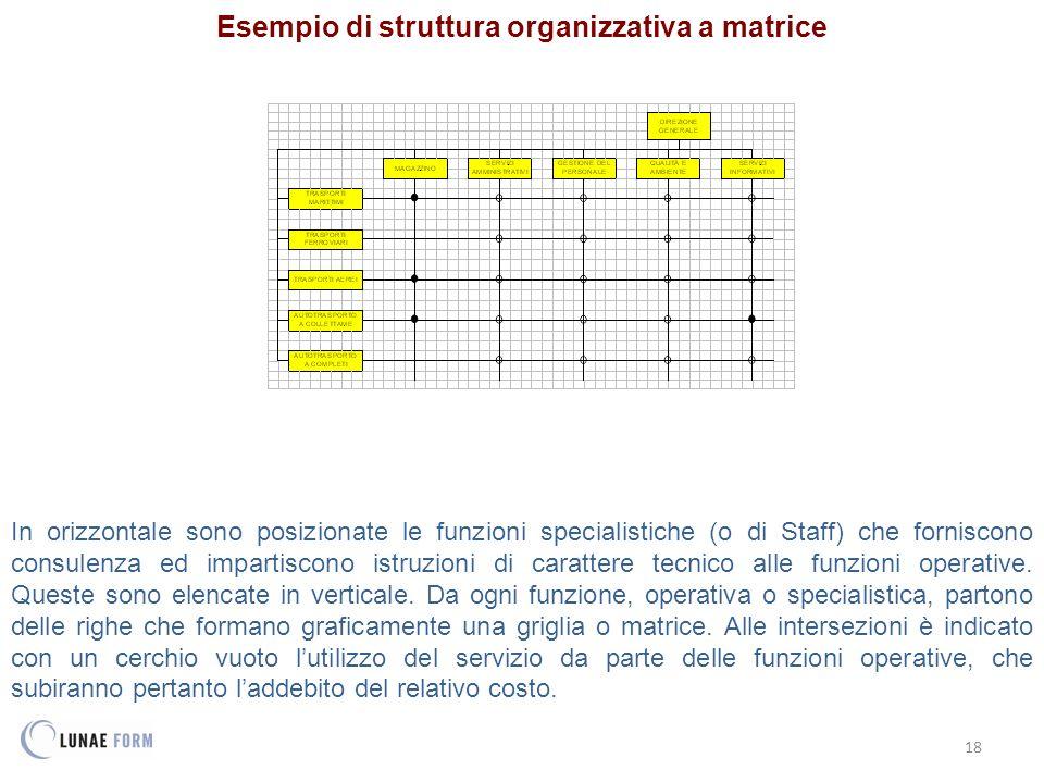 Esempio di struttura organizzativa a matrice