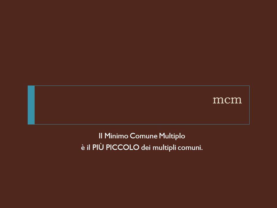 mcm Il Minimo Comune Multiplo è il PIù PICCOLO dei multipli comuni.